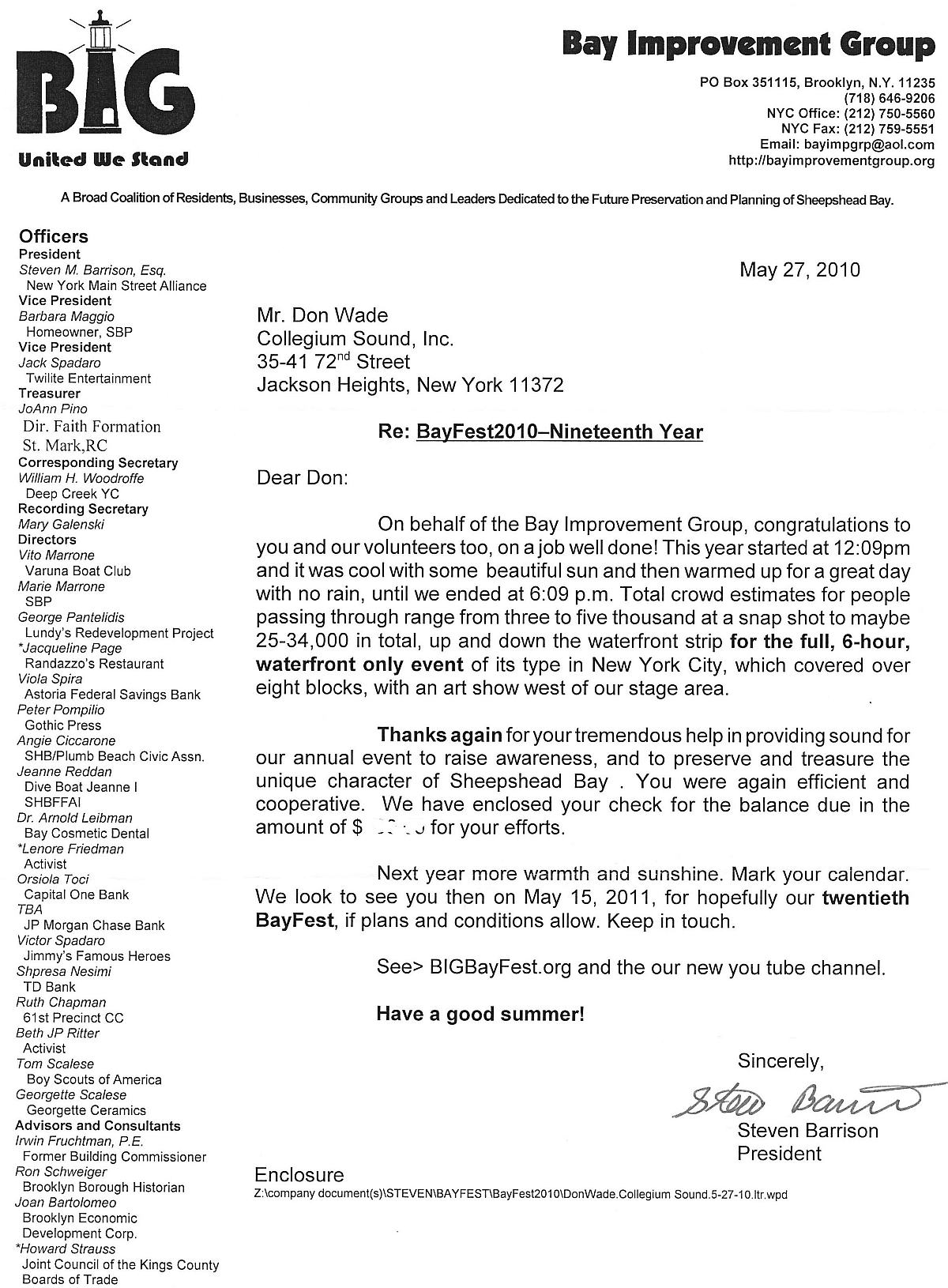 Bay Improvement Group Letter